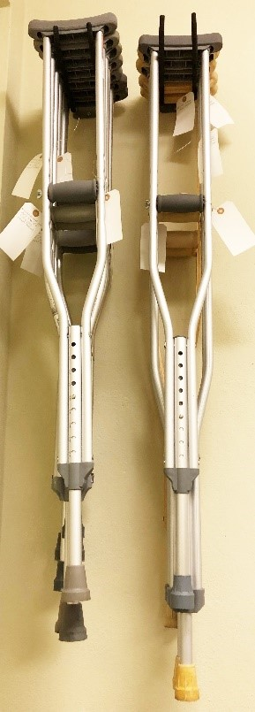 "Crutches-all adjustable, one set for a tall person greater than 6'2""."