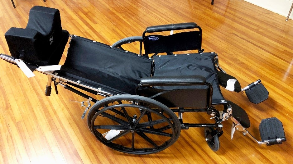 Fully reclining wheel chair. This is needed when patient needs a procedure in a fully recumbent position, sometimes...