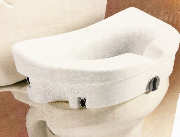 "Raised toilet seat, increases seat height by 5""."