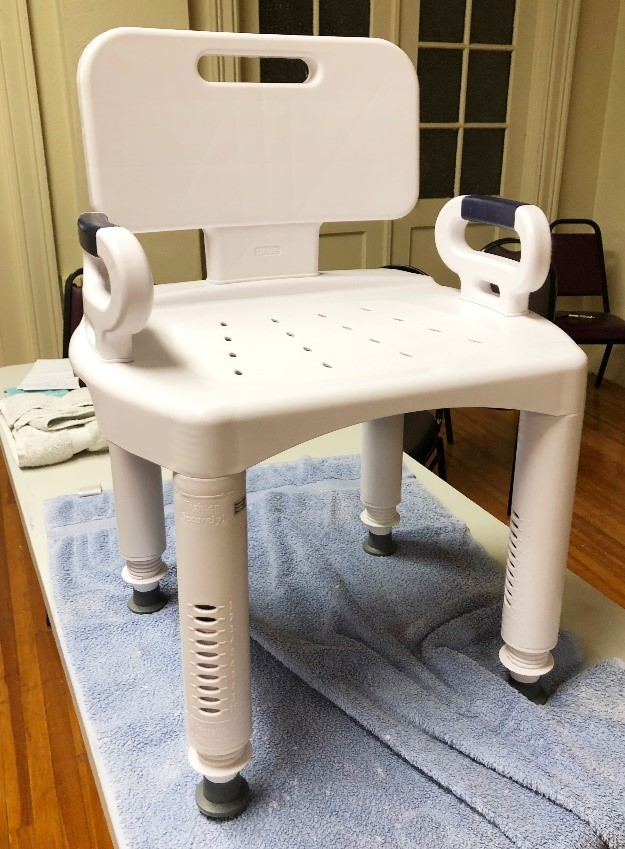 Shower chair, molded plastic, adjustable legs for height, another chair we have is aluminum with seat only molded.