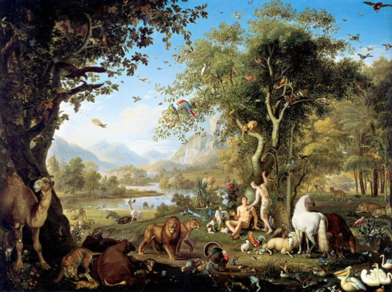 Wenzel Peter, Adam and Eve in the Garden of Eden, oil on canvas