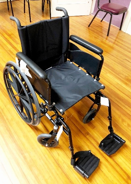 Wheel chair-there are several sizes and most have foot rests. We have a large size as well.