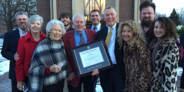 Ted Goins and family, including his wife, Cheryl, aznd his parents Mr. and Mres. Ted Goins, Sr., after receiving his honorary doctorate from Lenoir-Rhyne University